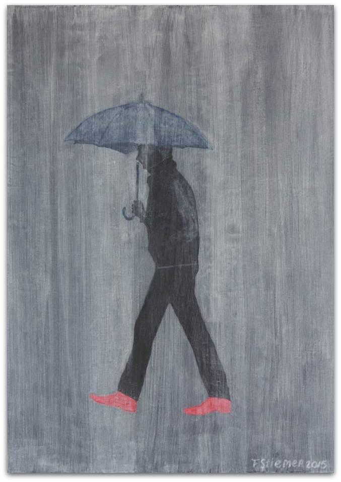 Frits Stiemer, Dutch painter, man in de regen, paraplu, umbrella, het regent, it rains