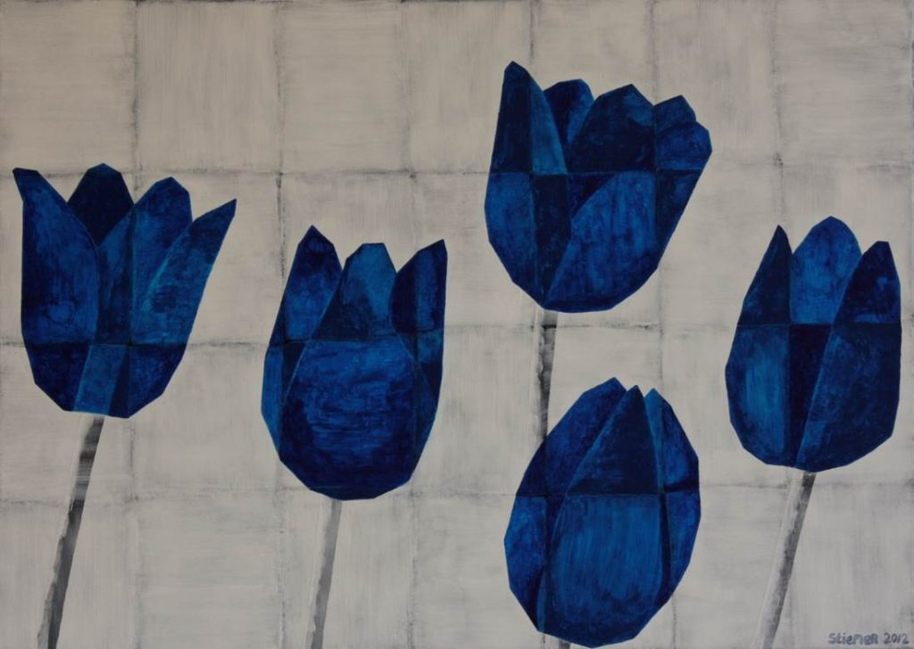 frits stiemer, dutch painter, interior design, tulpen, kubisme, blauw, wit, kunst, art