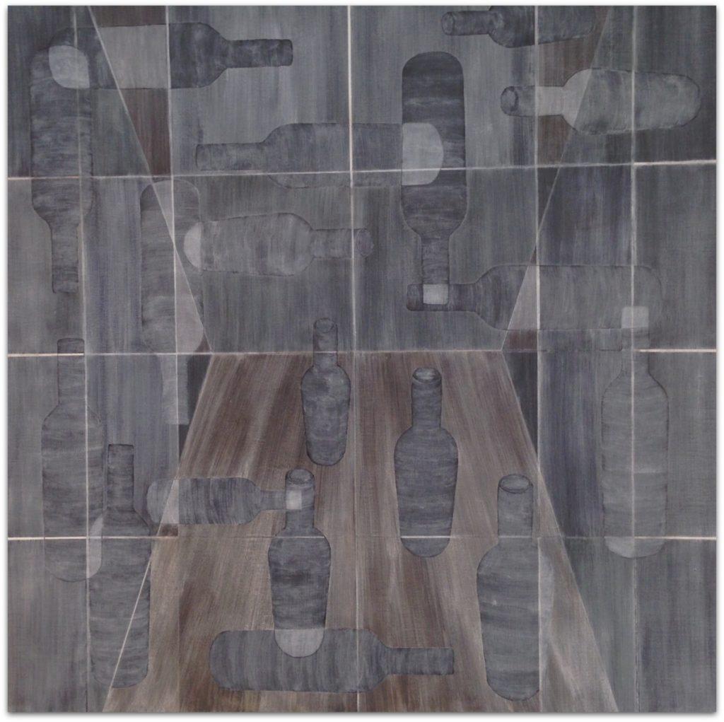 Frits Stiemer, Dutch painter, flessen, Bottles, schilderen met acrylverf, interior design,