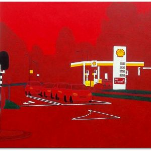 frits stiemer, dutch painter, shell station, rondweg west, veenendaal, acrylverf, linnen,